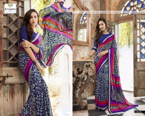 TRIVENI BY BEVELRY VOL 3 CATALOGUE CASUAL WEAR GEORGETTE PRINTS SAREES WHOLESALE 64020