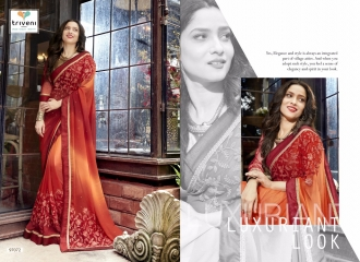 TRIVENI BY JHUMRI VOL 9 CATALOGUE WHOLESALE EMBROIDERED SAREES AT PRATHAM EXPORTS 97072