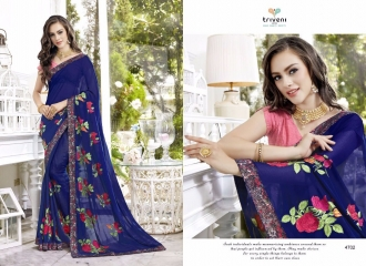 TRIVENI BY TRISHLA PARTY WEAR DESIGNER EMBROIDERED SAREES COLLECTION WHOLESALE PRICE 4702