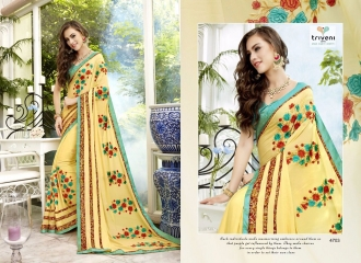 TRIVENI BY TRISHLA PARTY WEAR DESIGNER EMBROIDERED SAREES COLLECTION WHOLESALE PRICE 4703