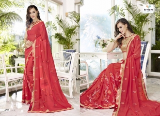 TRIVENI BY TRISHLA PARTY WEAR DESIGNER EMBROIDERED SAREES COLLECTION WHOLESALE PRICE 4708