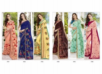 TRIVENI BY TRISHLA PARTY WEAR DESIGNER EMBROIDERED SAREES COLLECTION WHOLESALE PRICE T-1