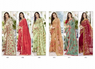 TRIVENI BY TRISHLA PARTY WEAR DESIGNER EMBROIDERED SAREES COLLECTION WHOLESALE PRICE T-2