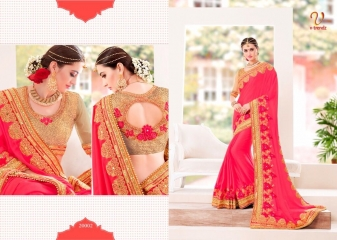 V TRENDZ 200001- 200010 HEAVY DESIGNER LOOK WORK SAREES CATALOGUE WHOLESALE RATE 20002