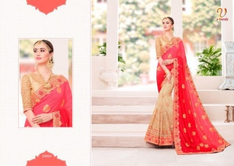 V TRENDZ 200001- 200010 HEAVY DESIGNER LOOK WORK SAREES CATALOGUE WHOLESALE RATE 20004