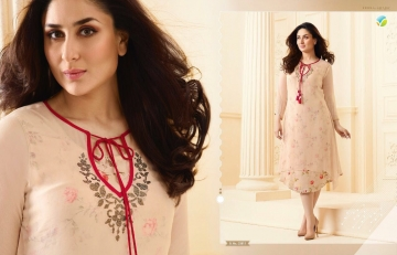 VINAY FASHION BY TUMBAA BEBO CATALOGUE GEORGETTE KURTI WHOLESALER PRICE FROM SURAT 33815
