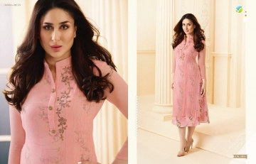 VINAY FASHION BY TUMBAA BEBO CATALOGUE GEORGETTE KURTI WHOLESALER PRICE FROM SURAT 33816