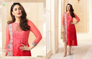 VINAY FASHION BY TUMBAA BEBO CATALOGUE GEORGETTE KURTI WHOLESALER PRICE FROM SURAT 33819