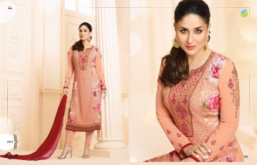 VINAY FASHION KAREENA KASEESH GEORGETTE EMBROIDERY STRAIGHT SALWAR KAMEEZ WHOLESALE SURAT 5915