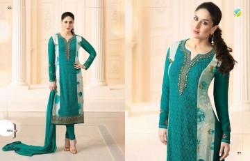 VINAY FASHION KAREENA KASEESH GEORGETTE EMBROIDERY STRAIGHT SALWAR KAMEEZ WHOLESALE SURAT 5916