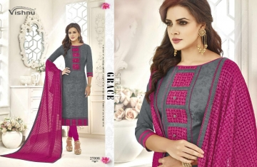 VISHNU IMPEX NOUREEN VOL 4 COTTON SATIN JEQUARD SUITS WHOLESALE 27006