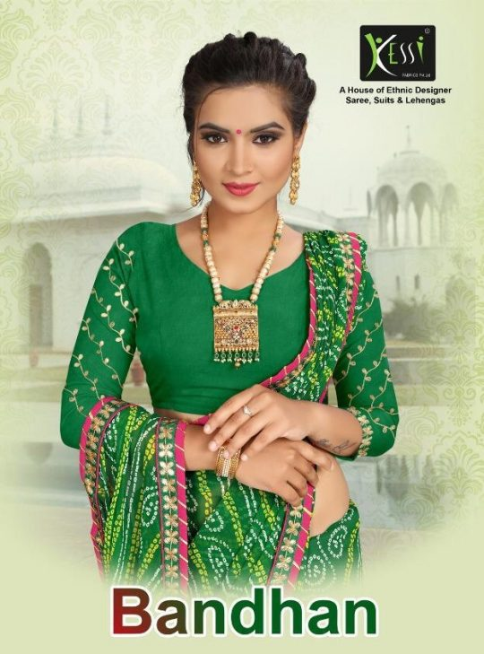 7d94c323bd Kessi fabric Bandhan exclusive Designer Georgette sarees collection wholesale  supplier online shopping buy from Surat